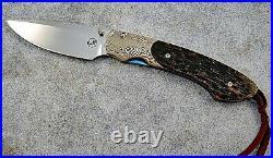 William Henry Fine Knives T12-BPM Spearpoint- Mokume & Black Palm
