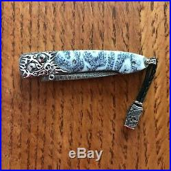 William Henry Knife B10 Inferno Sterling Silver Skulls Fossil Coral Retail $1750