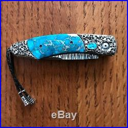 William Henry Knife B12 Jerome Carved Sterling Skulls Turquoise Retail $2675