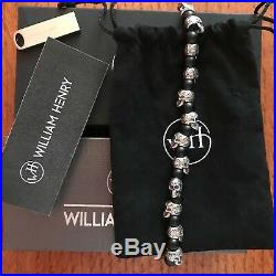 William Henry Knife Bb4 Shaman Bracelet Sterling Silver Skulls Onyx Retail $700