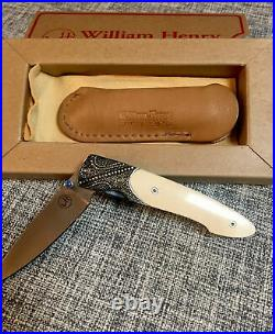 William Henry Knife T10-AGI Sterling Silver Opal Stone Mammoth Handle #99