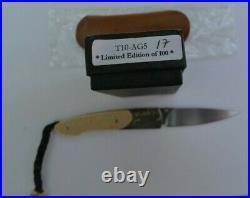 William Henry T10-AG3 Pocket Knife Titanium Frame / Silver/23K Gold Bolster