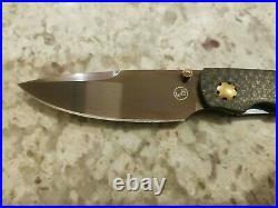 William Henry T12 Black & Tan Spearpoint Carbon Fiber Gold Knife