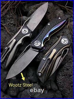 Wootz Steel Knife Tactical Folding Knife Rescue Titanium Alloy Carbon Fiber Edc