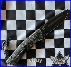 Zieba Custom Knives S5 Demon, M390 Blade, Etched Titanium Handles Skull Spacer